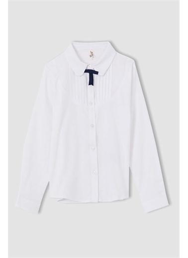 DeFacto Kız Çocuk Fiyonk Detaylı Uzun Kollu Gömlek Beyaz